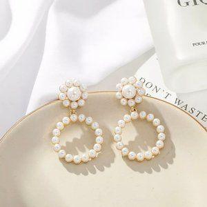 Pretty Faux Pearl Flower Hoop Earrings